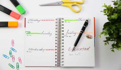 Pen on a bullet journal planner